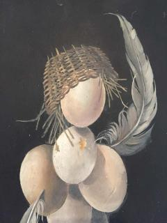 Lester Gaba Hand Painted on Wood Chicken with Eggs Lilly Dache Collection - 1781499