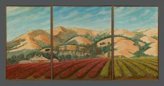 Lew E Davis Triptych Painting Of The Villa Lomas Azules And Highland Vineyard - 1373460