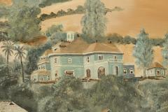 Lew E Davis Triptych Painting Of The Villa Lomas Azules And Highland Vineyard - 1373461