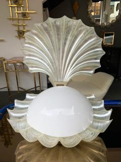 Liane Rougier Large Shell Lamp Pearl Resin Brass by Maison Rougier France 1970s - 1191603