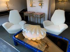 Liane Rougier Large Shell Lamp Pearl Resin Brass by Maison Rougier France 1970s - 1191604