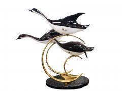 Licio Zanetti Licio Zanetti Three Flying Geese Vintage Murano Glass Sculpture - 1214835
