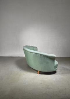 Light green curved two seater sofa Sweden 1940s - 1086653