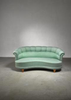 Light green curved two seater sofa Sweden 1940s - 1086654