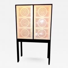 Limited Edition Artisan Crafted Origami Glass and Iron Bar Cabinet - 362904