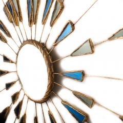 Line Vautrin A Line Vautrin Etincelles style mirror with blue and white colored glass - 2007434