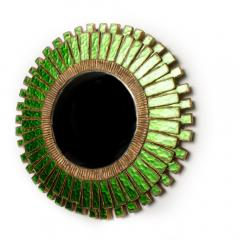 Line Vautrin A green talosel and resin convex mirror in the manner of Line Vautrin - 2007421