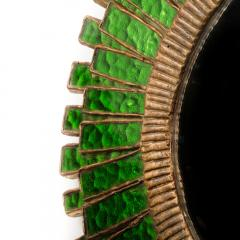 Line Vautrin A green talosel and resin convex mirror in the manner of Line Vautrin - 2007423