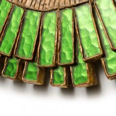 Line Vautrin A green talosel and resin convex mirror in the manner of Line Vautrin - 2007428