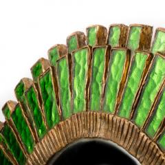 Line Vautrin A green talosel and resin convex mirror in the manner of Line Vautrin - 2007429