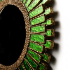 Line Vautrin A green talosel and resin convex mirror in the manner of Line Vautrin - 2007431