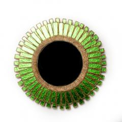 Line Vautrin A green talosel and resin convex mirror in the manner of Line Vautrin - 2007448