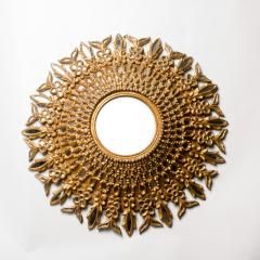 Line Vautrin A large round segmented and carved giltwood mirror in the manner of Line Vautrin - 2007454
