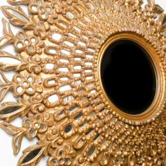 Line Vautrin A large round segmented and carved giltwood mirror in the manner of Line Vautrin - 2007455
