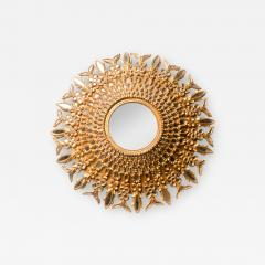 Line Vautrin A large round segmented and carved giltwood mirror in the manner of Line Vautrin - 2009831