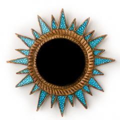 Line Vautrin A light blue Soleil pointes convex mirror in the manner of Line Vautrin - 2007387