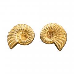 Line Vautrin A pair of Nautile gilded bronze earrings - 1203823