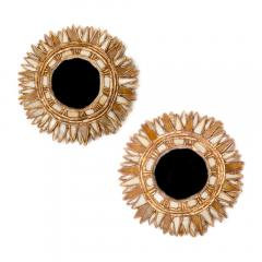 Line Vautrin A pair of petite mirrors with white and champagne glass manner of Line Vautrin - 2007514