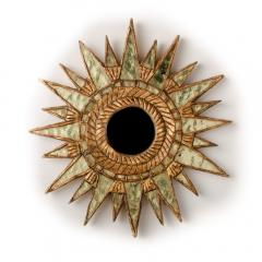 Line Vautrin A pair of small silver leaf starburst mirrors in the manner of Line Vautrin - 2007404