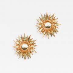 Line Vautrin A pair of small silver leaf starburst mirrors in the manner of Line Vautrin - 2009825