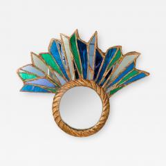 Line Vautrin An asymmetrical petite peacock mirror in the manner of Line Vautrin - 2009840