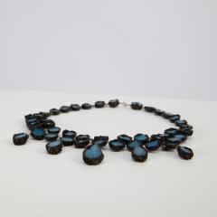 Line Vautrin Black Talosel necklace incrusted with ocean blue mirrors Line Vautrin France  - 1615852