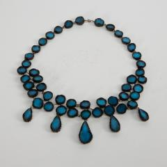 Line Vautrin Black Talosel necklace incrusted with ocean blue mirrors Line Vautrin France  - 1615855