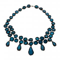 Line Vautrin Black Talosel necklace incrusted with ocean blue mirrors Line Vautrin France  - 1618926
