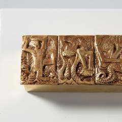 Line Vautrin Gilded bronze box Neptune  - 1690886