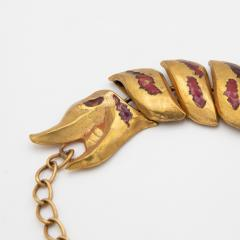 Line Vautrin Gilded bronze necklace with enamel decoration La femme au dragon Line Vautrin - 1628953