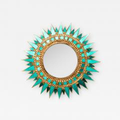 Line Vautrin Glass mirror in the manner of Line Vautrin Soleil pointes style - 2009838