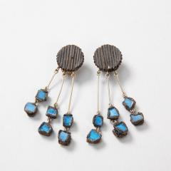 Line Vautrin Line Vautrin Fr A Farah talosel and incrusted blue mirrors earrings 2  - 1065022