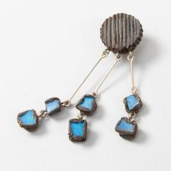 Line Vautrin Line Vautrin Fr A Farah talosel and incrusted blue mirrors earrings 2  - 1065027