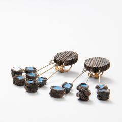 Line Vautrin Line Vautrin Fr A Farah talosel and incrusted blue mirrors earrings 2  - 1065028
