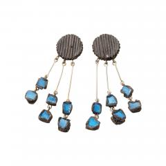 Line Vautrin Line Vautrin Fr A Farah talosel and incrusted blue mirrors earrings 2  - 1065938