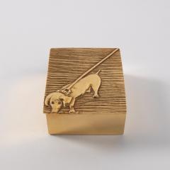 Line Vautrin Line Vautrin France Dachshund Tout Ou Rien All or Nothing Box Gilded Bronze - 1509893