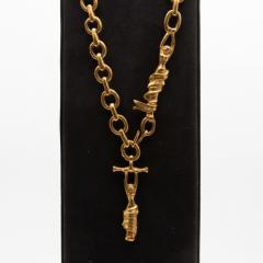Line Vautrin Line Vautrin France Rare long necklace The trapezists Gilded bronze - 1016193