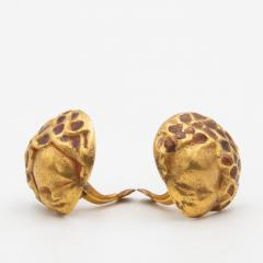 Line Vautrin Line Vautrin France angels with bouquet of flowers head pair of earrings - 1013026