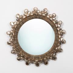 Line Vautrin Line Vautrin French Convex Mirror Shamrock Silver Foil Incrusted Mirrors - 1252014
