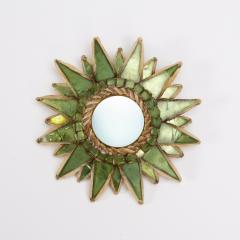 Line Vautrin Line Vautrin French Mirror Soleil A Pointes Green Incrusted Mirrors - 1506670