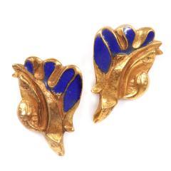 Line Vautrin Pair of Bronze and Enamel Earrings Line Vautrin - 2125456
