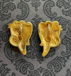 Line Vautrin Pair of Bronze and Enamel Earrings Line Vautrin - 2125458