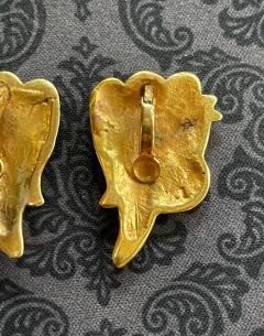 Line Vautrin Pair of Bronze and Enamel Earrings Line Vautrin - 2125461