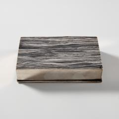 Line Vautrin Silvered Bronze Box Les Roseaux visage humain  - 1690702