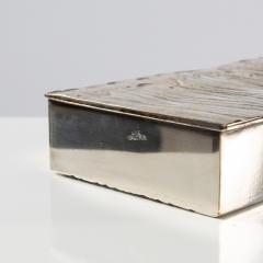 Line Vautrin Silvered Bronze Box Les Roseaux visage humain  - 1690704