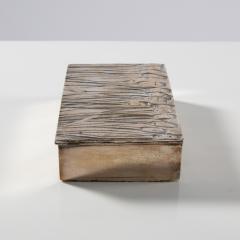 Line Vautrin Silvered Bronze Box Les Roseaux visage humain  - 1690705