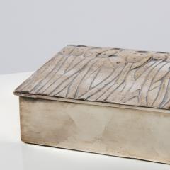 Line Vautrin Silvered Bronze Box Les Roseaux visage humain  - 1690706