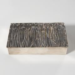 Line Vautrin Silvered Bronze Box Les Roseaux visage humain  - 1690712