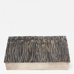 Line Vautrin Silvered Bronze Box Les Roseaux visage humain  - 1693563