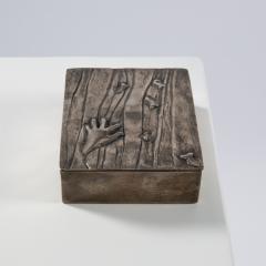 Line Vautrin Silvered bronze box La main aux poissons  - 1690902